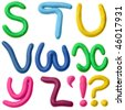 Plasticine alphabet isolated over white background, Lettrs S - Z - stock photo