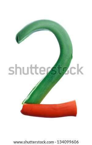 Plasticine alphabet number 'two' isolated on white - stock photo