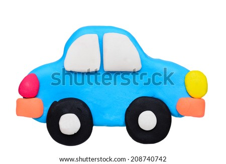 plasticine clay car on white background - stock photo