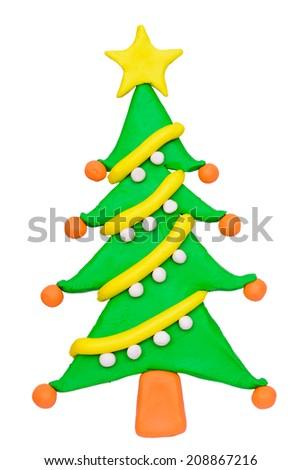 Plasticine clay Christmas tree - stock photo