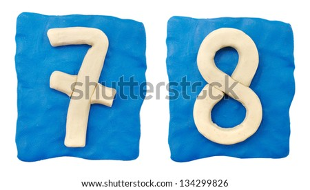 Plasticine figures on a white background - stock photo