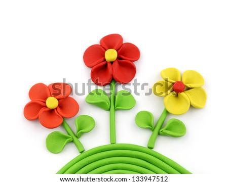 Plasticine flowers - stock photo