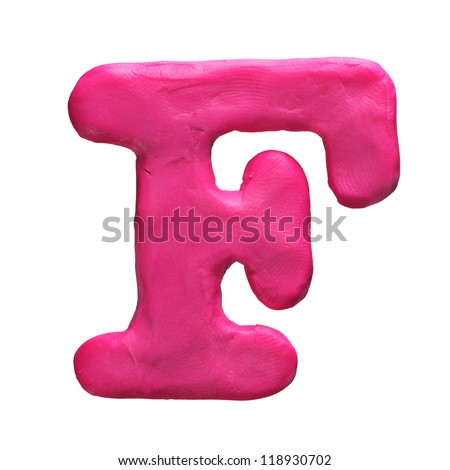 Plasticine letter F isolated on a white background - stock photo