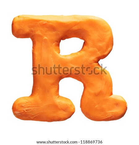 Plasticine letter R isolated on a white background - stock photo