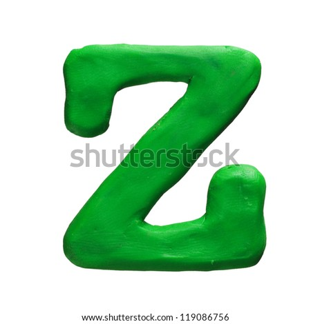 Plasticine letter Z isolated on a white background - stock photo