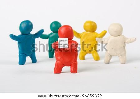 Plasticine Men. Business scene. Contract. - stock photo