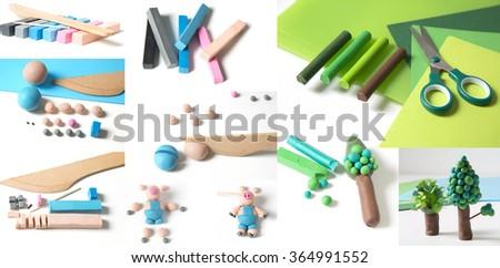 Plasticine models, working in plasticine - stock photo