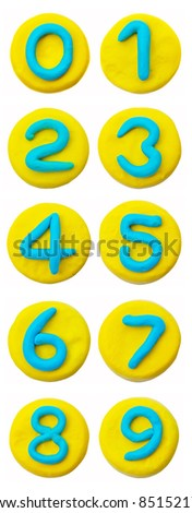 Plasticine number set, isolated on white background - stock photo