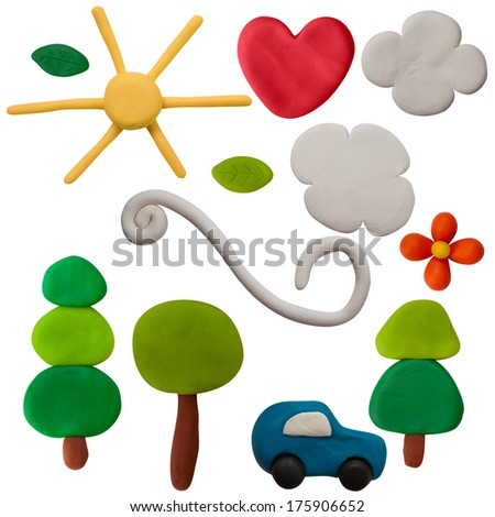 Plasticine objects on white background - stock photo