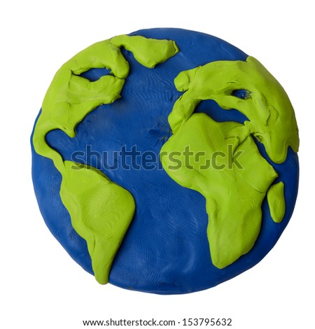 Plasticine planet earth on a white background - stock photo