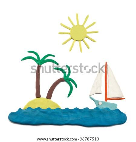 plasticine sea boat, island, sun, palm trees - stock photo