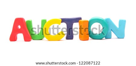 plasticine web words isolated on white : AUCTION - stock photo