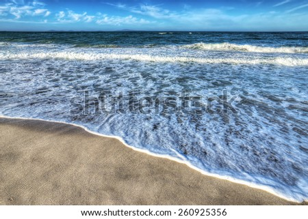 platamona beach on a clear day. Processed for hdr tone mapping effect - stock photo