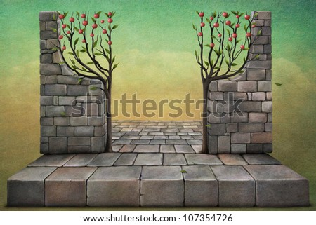Plate and the wall with apple trees, illustration or background for  card or poster. Computer Graphics. - stock photo