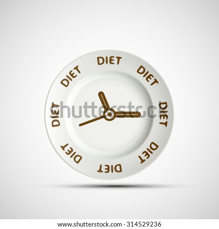 Plate as a clock and the words diet. Stock image. - stock photo