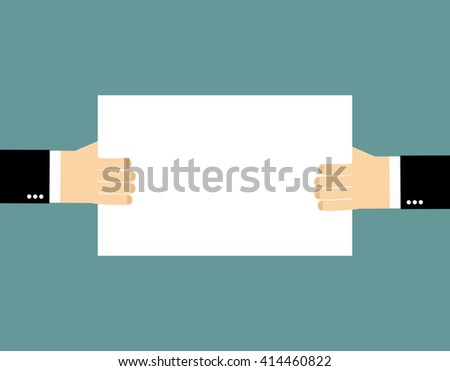 Plate Billboard and hands. An empty plate, hold hands of businessman. Pure white sheet of paper into hands of man. Space for text - stock photo