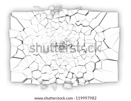 Plate broken in small fragments on white background - stock photo