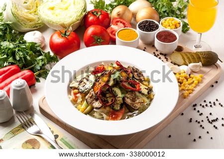 plate food salad and salt pepper tomato - stock photo