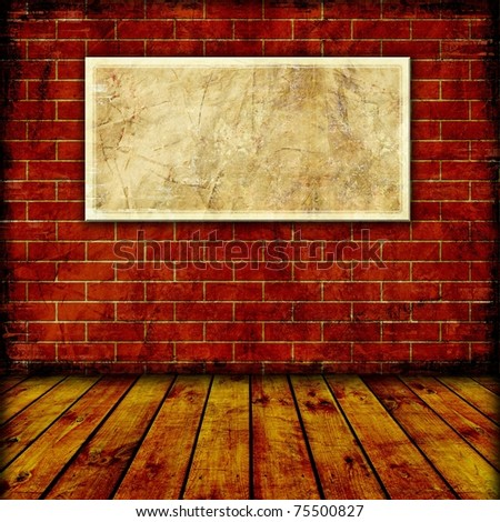 Plate for your text or image on brick wall - stock photo