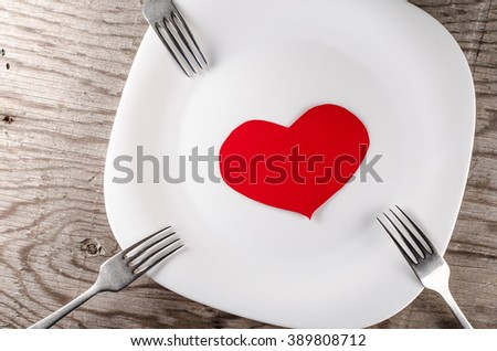 plate, fork, heart and gift box
