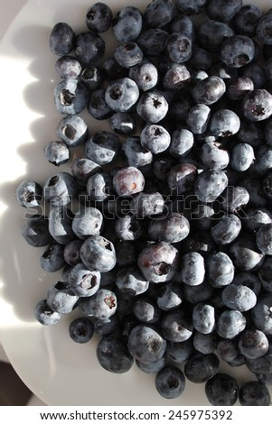 Plate full of blueberries - vertical - stock photo
