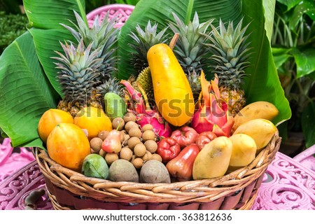 plate full of exotic thailand fruits - stock photo
