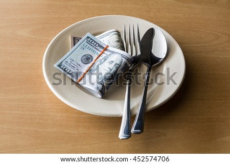 Plate full of money with fork and knife, Business concept.