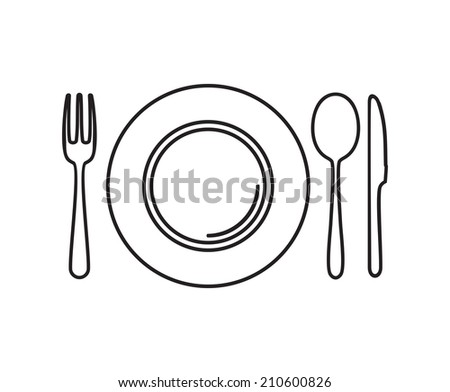 Plate, knife, spoon and fork - stock photo
