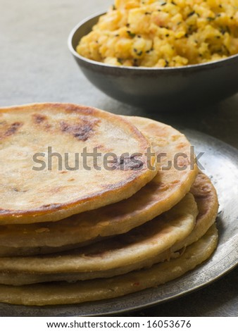 Plate of Aloo stuffed Parathas
