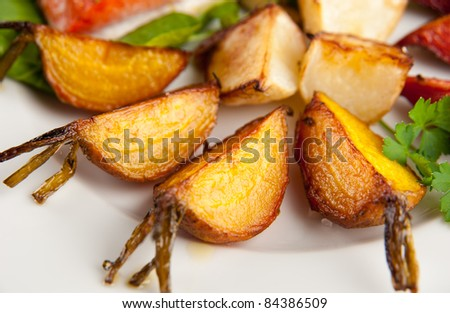 Plate of Assorted Root Vegetables Grilled in Butter with Sea Salt and Herbs