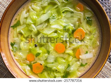 Plate of cabbage soup with celery. Vegetarian diet meal. Selective focus - stock photo