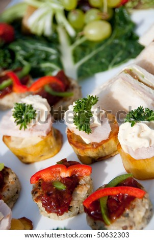 Plate of canapes - stock photo