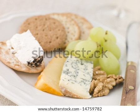 Plate of Cheese and Biscuits - stock photo