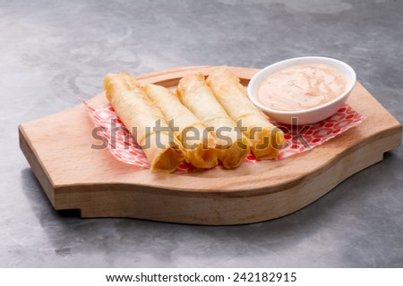 Plate of cheese sambusektraditional Arabic food / Cheese rolls plate with cocktail sauce served & Plate Cheese Sambusektraditional Arabic Food Cheese Stock Photo ...