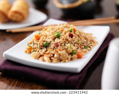 plate of chinese fried rice - stock photo