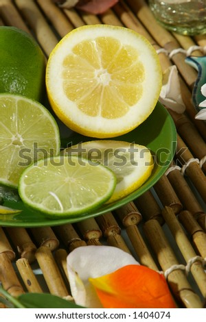 Plate of citrus fruits. - stock photo