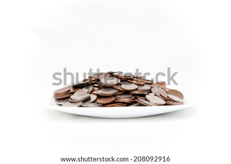 Plate of coins - stock photo