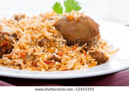 Plate of delicious chicken biryani - Hyderabadi style - stock photo