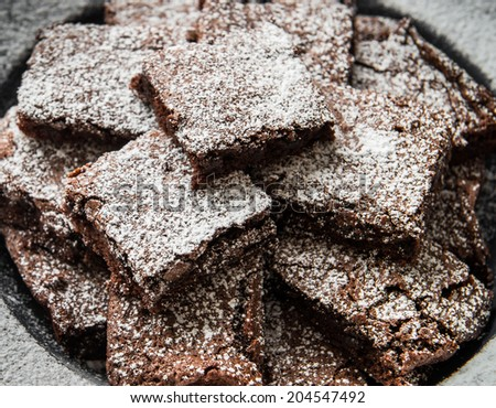 Plate of Delicious Chocolate Brownies - stock photo