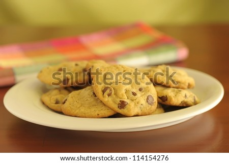 Plate of delicious homemade chocolate chip cookies. - stock photo