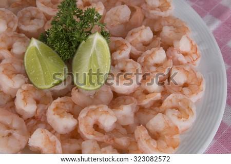Plate of fresh raw of prawns - stock photo