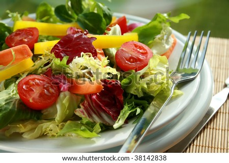 Plate of fresh salad with a fork - stock photo