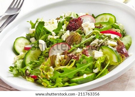 Plate of fresh salad with radishes, cucumbers and feta