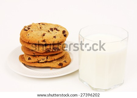 Plate of freshly baked chocolate chip cookies and a glass of milk - stock photo