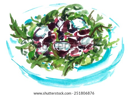 Plate of green salad with cheese and vegetables painted in watercolor on white background - stock photo