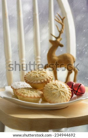 Plate of mince pies for Christmas  - stock photo