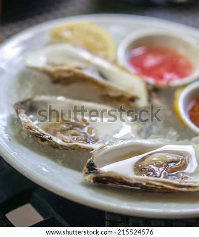 Plate of oysters - stock photo