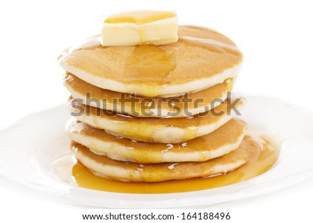 Plate of pancakes with fresh blueberries  - stock photo