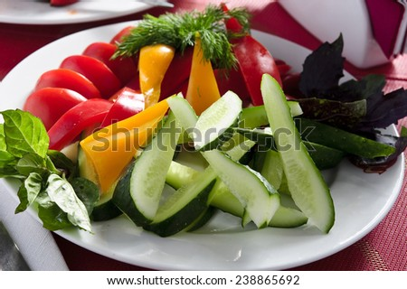 Plate of plane cut vegetables - stock photo
