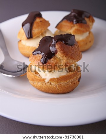 plate of profiterole with icecream